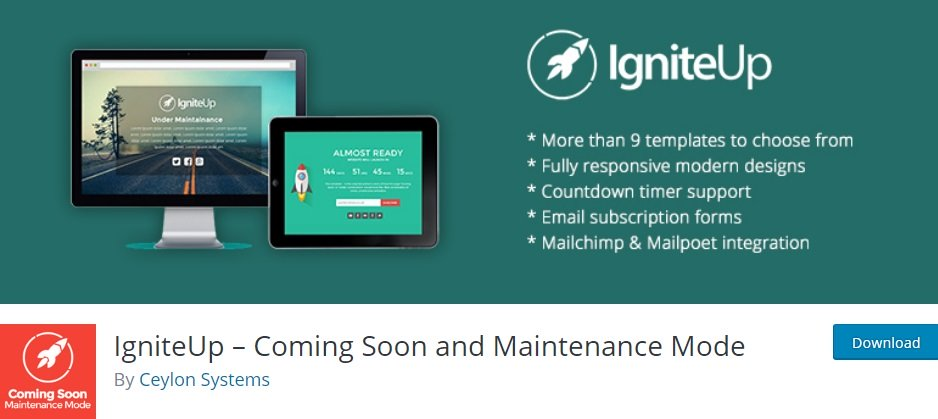 Плагин IgniteUp – Coming Soon and Maintenance Mode