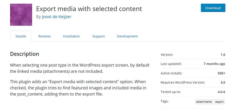 плагин Вордпресс Export media with selected content