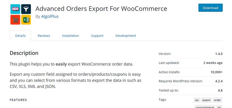 плагин Вордпресс Advanced Orders Export For WooCommerce