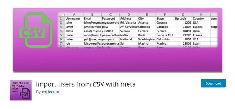 плагин Вордпресс Import users from CSV with meta